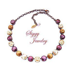 Swarovski Crystal Necklace, Warm Browns and Purple